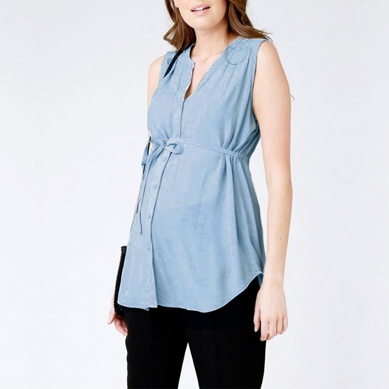 M-5XL Soft Rayon Maternity Blouse Sleeveless V Neck Irregular Pregnancy Tops