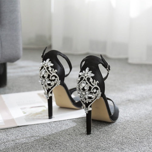 Fashion 2018 Luxury crystal High Heels Sandals for women Party Wedding Heels Ladies