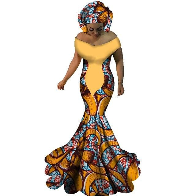 Slash Neck Long Dress African Print Mermaid Clothing  WY1860