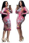 African Dashiki Autumn and winter  print Large Elastic Design Long Sleeve dress Suit