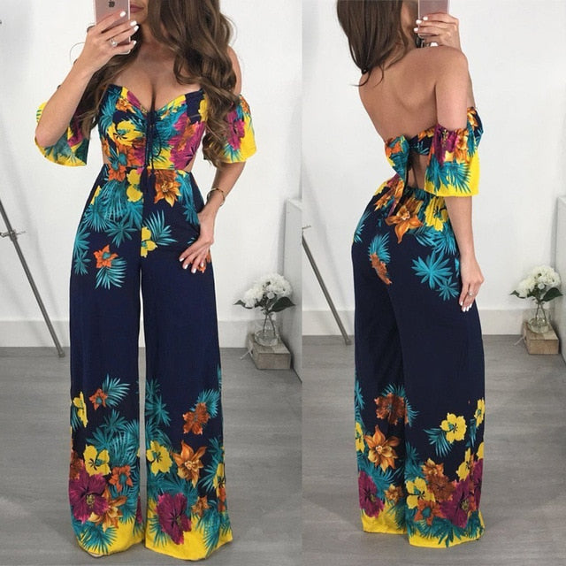 Women Off Shoulder Short Sleeve Jumpsuit Flower