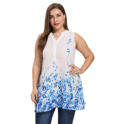 V Neck Sleeveless Print Plus Size Loose Chiffon Women Blouse