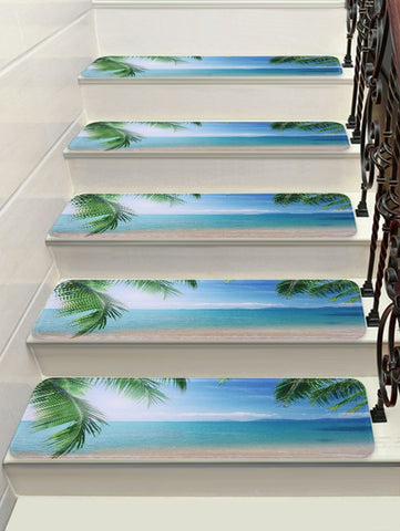 Sea Beach Pattern Decorative Stair Floor Rugs
