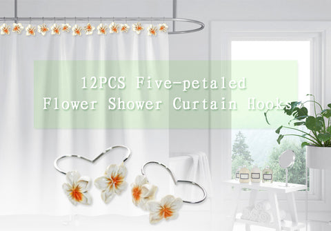 12PCS Five-petaled Flowers Anti-rust Decorative Hook for Bathroom Shower Curtain
