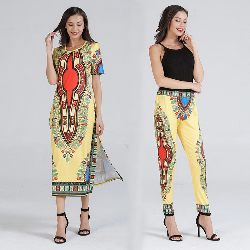 African Clothes Ethnic Print Two Piece Set
