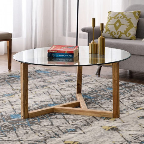 Round Glass Coffee Table Easy Assembly with Tempered Glass Top Wood Base