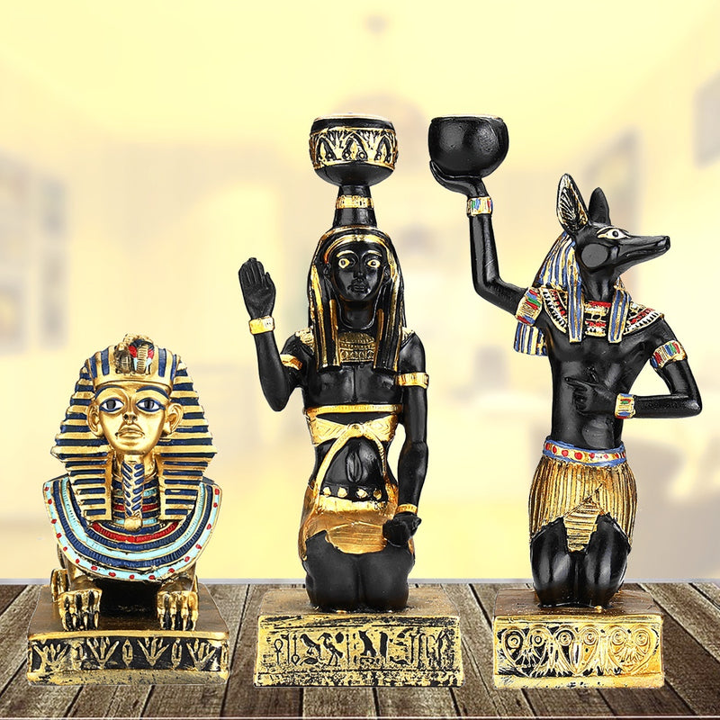 Home Decor Resin Egyptian Figurine Candle Holder Vintage Statue Craft Gift