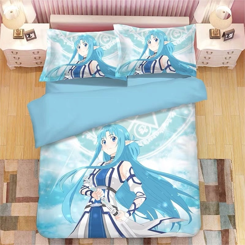 Sword Art Online Yuuki Asuna Lovely Japanese Cartoon 3pcs Bedding Set Duvet Cover with Pillowcases