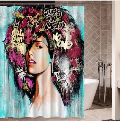 Hip Hop African Girl with Black Hair  Curtain for Bathroom Decor