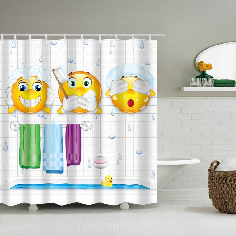 Emoji Shower Curtain Funny Kute Polyester and Washable for Kids Gift with 12 Hooks