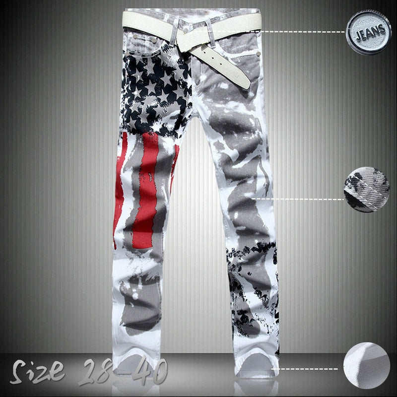 Men's Fashion Jeans American Flag Print Trendy Men's White Casual Jeans
