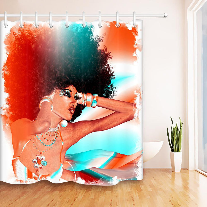 African Woman  Hair Shower Curtain  Bathroom Curtain