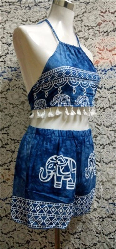 Two Pieces Women Swimsuit  Elephant Printed