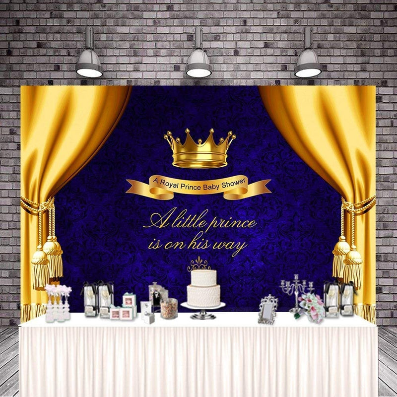 Mehofoto Blue Baby Shower Backdrop Yellow Curtain Photo Background