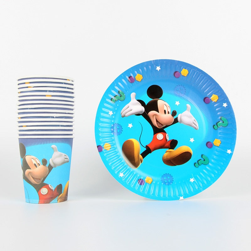 40pcs/lot Mickey Mouse Theme Party Supplies Paper Plate Cup