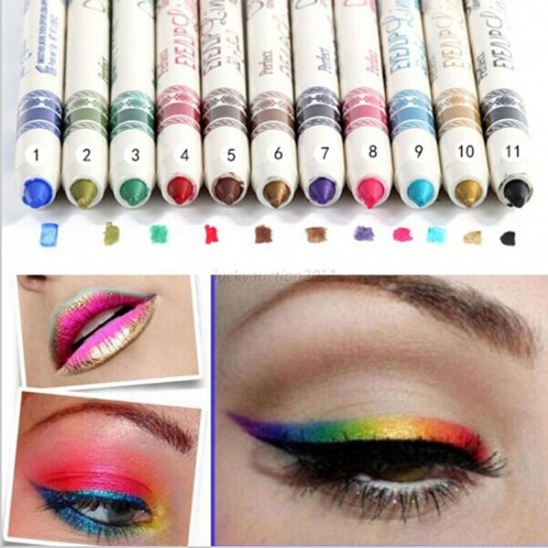 New Glitter Lip liner Eye Shadow Eyeliner Pen Makeup Cosmetic Sets 12 Colors/ Set