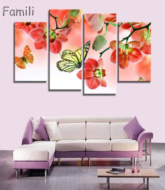 4pcs Print poster canvas Wall Art pink orchids Decoration art oil painting