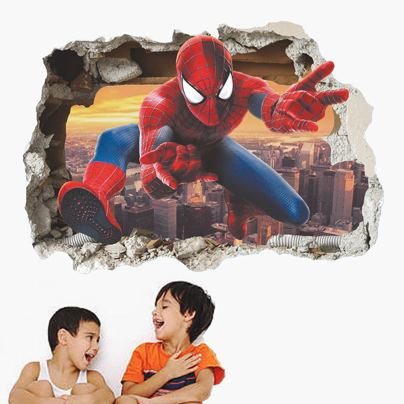 3D Effect Hero Through Decorative Wall Stickers