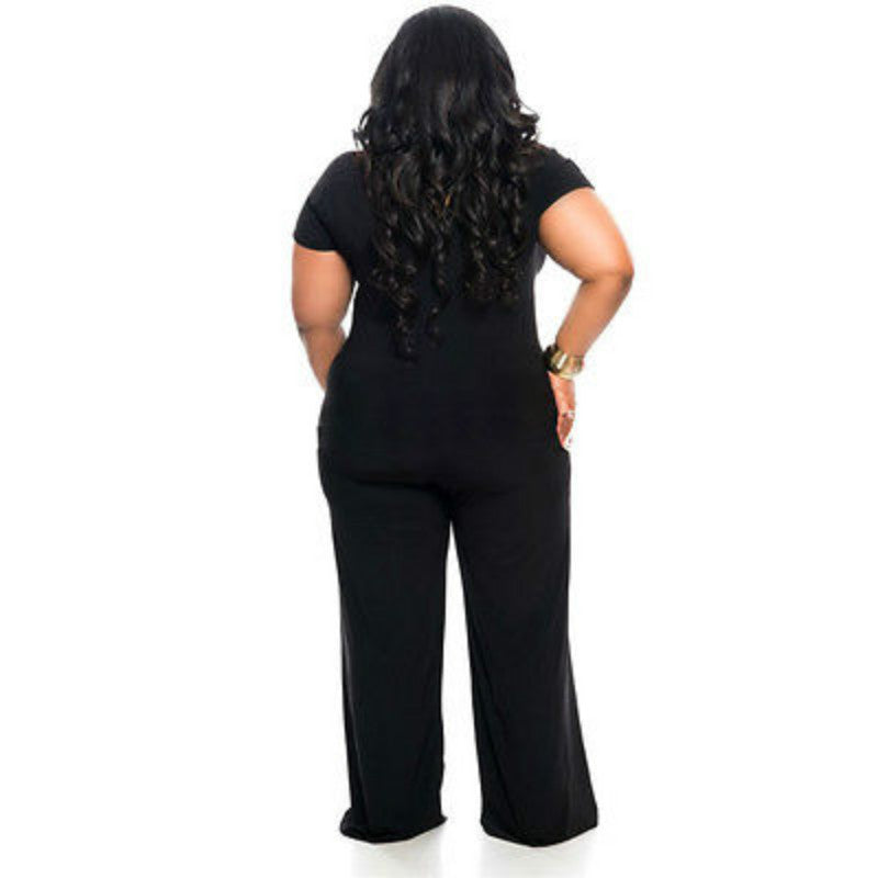 Womens  Short Sleeve Long Jumpsuit Bodysuit