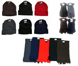 Wholesale Cuffed Winter Hats, Mens Fleece Gloves, and Scarves Combo Packs Case Pack 180