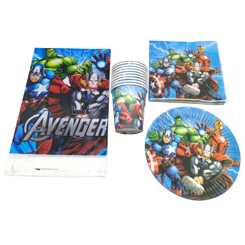 61PCS/lot Party Decor Avengers/Captain America/Iron Man Theme Plates Cups Napkins Kids Tablecloth