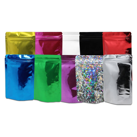 50Pcs 8.5x13cm Variety of Colors Stand Up Mylar Foil Ziplock Bag Resealable Grip Seal