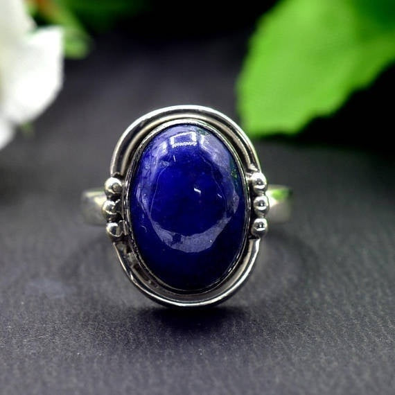 925 Sterling Silver Natural Lapis Lazuli Birthstone Ring Size 6 to 10 US