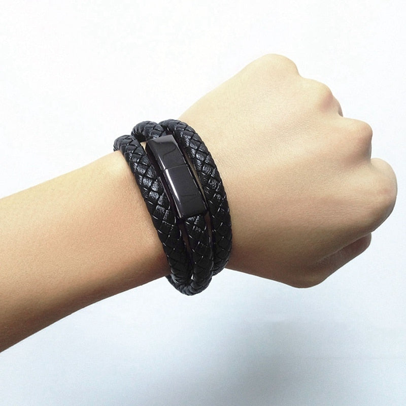 Portable Leather Mini Micro USB Bracelet Charger Data Charging Cable Sync Cord