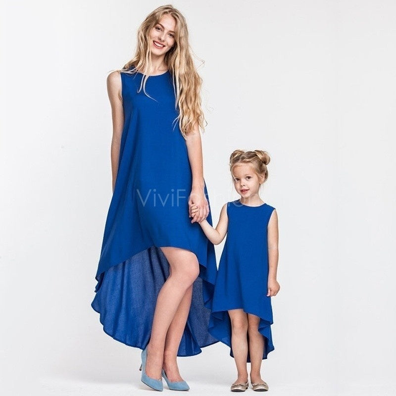 Stylish Asymmetrical Soild Color Matching Dresses for Mother And Daughter
