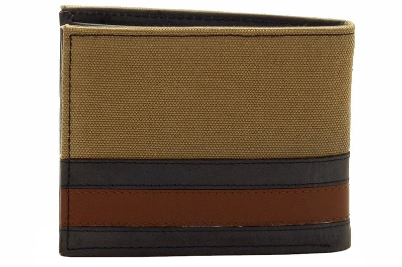 Tommy Hilfiger Men's Passcase Billford Khaki Canvas/Leather Bi-Fold Wallet