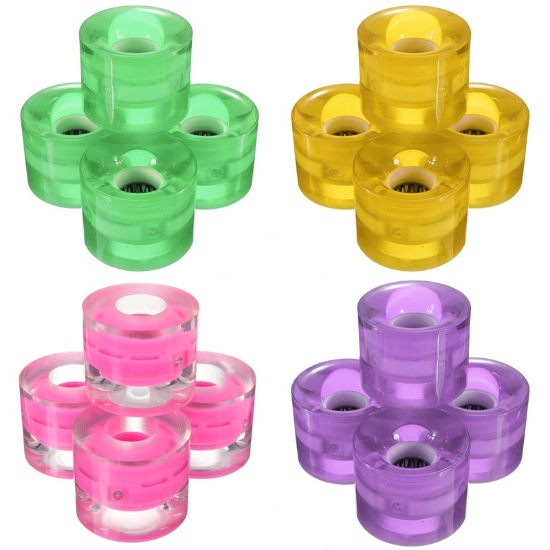 4Pcs/set 60x45mm Magnetic Force Skateboard Wheels Light Up Luminous Cruiser Longboard Smooth Ride