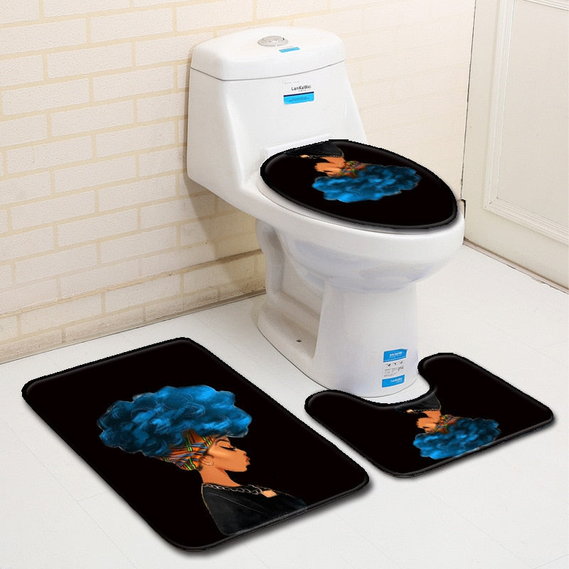 3pcs/Set Bathroom Non-Slip Pedestal Rug + Lid Toilet Cover + Bath Mat