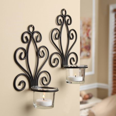 Scroll Wall Sconce Candleholders, Set of 2