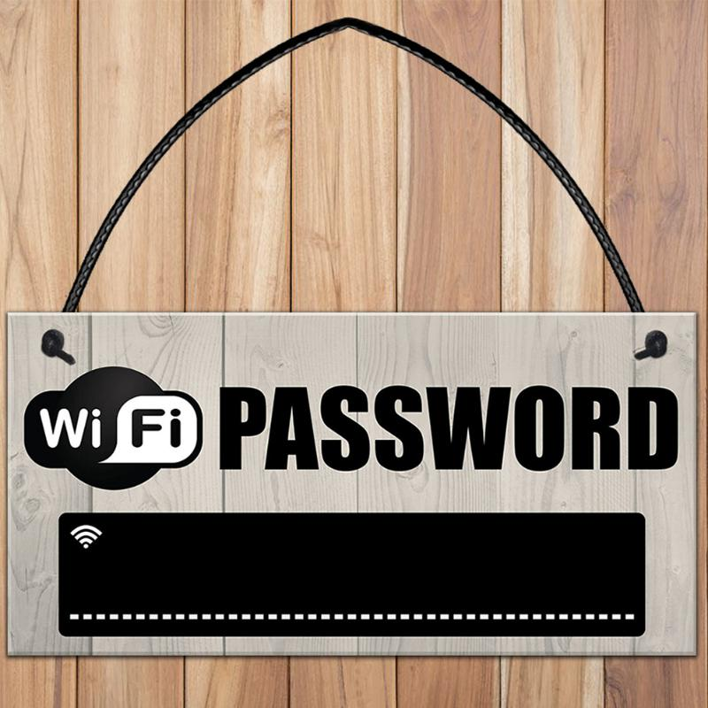 Wooden WiFi Password Sign Hanging Board Chalkboard Internet Signal Plate Indication
