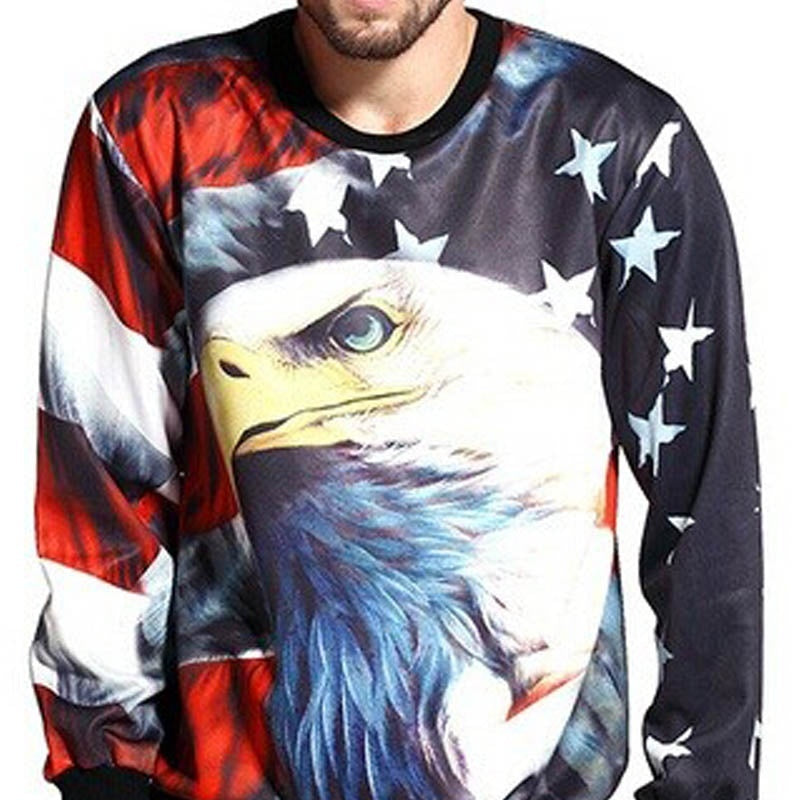Eagle Sweatshirts Men American Flag Printed Fashion Mens Crewneck Pullovers 3D Print Sweatshirt