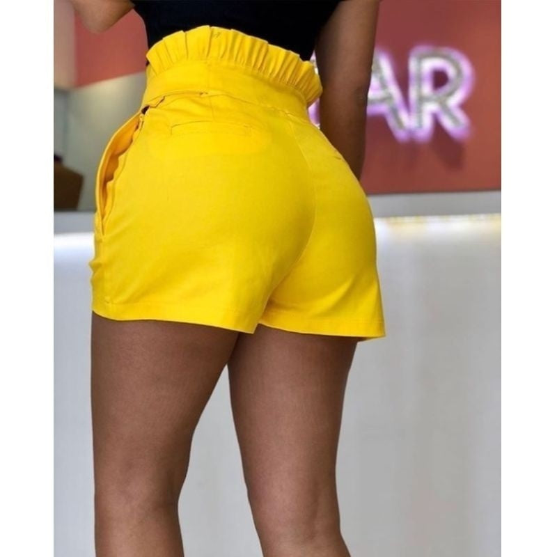 Womens Casual Loose Solid Color Pant Lace Up Summer Shorts High Waist Pants Frenulum Shorts