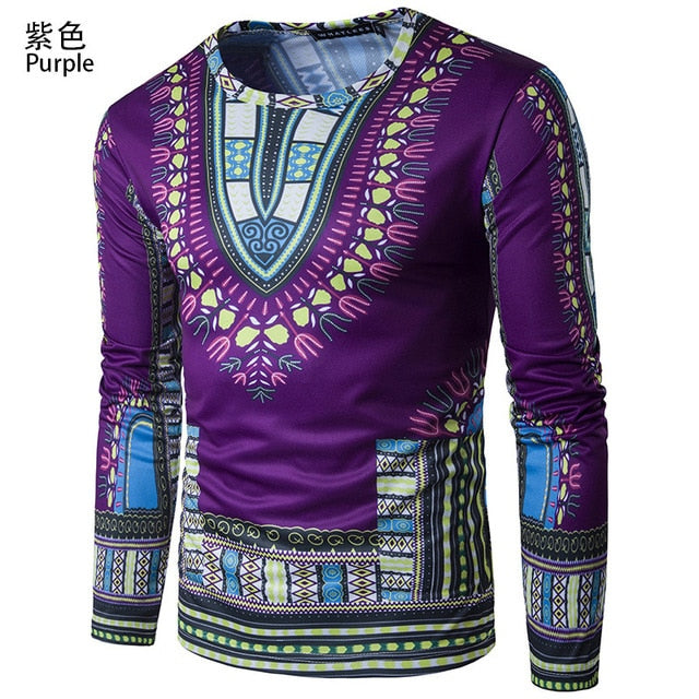 African Long Sleeved T-shirt Printing Men Clothes