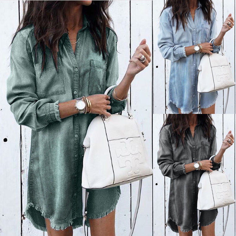 Women Long Sleeve Loose Denim Shirts Dress