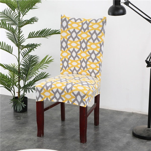 Geometric Chair Cover Elastic Stretch Spandex protective Slipcover