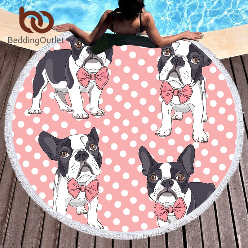 Round Microfiber Bow Tie Bulldog Large Beach Towel