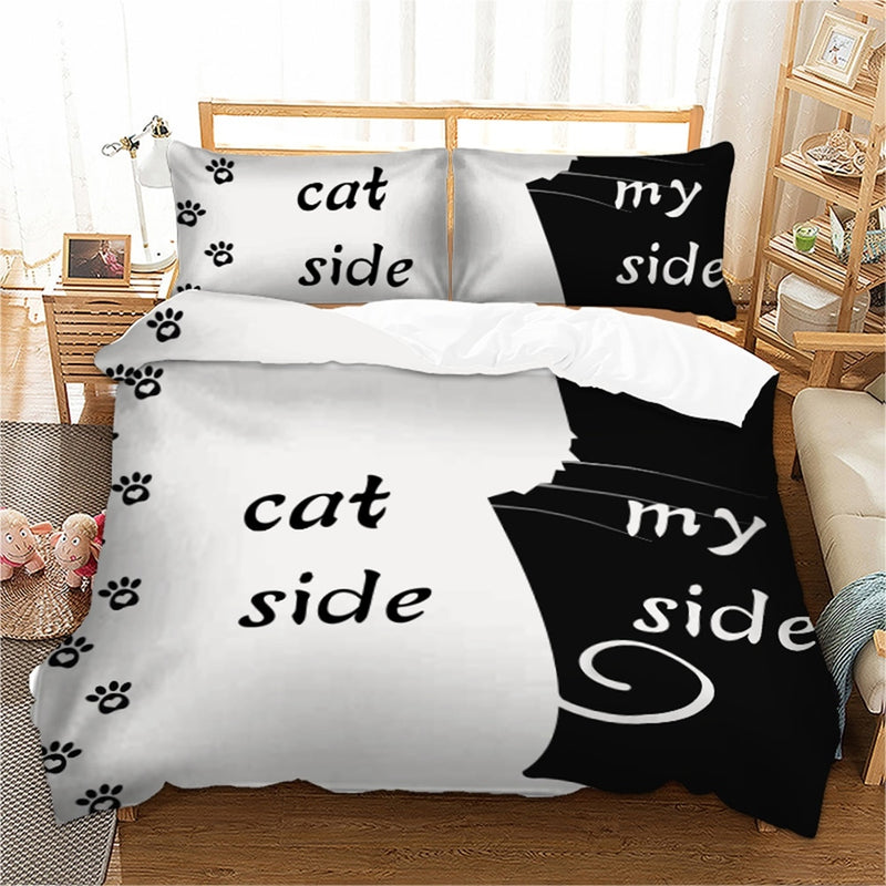 Cat side my side Bedding set Duvet Cover With Pillowcases
