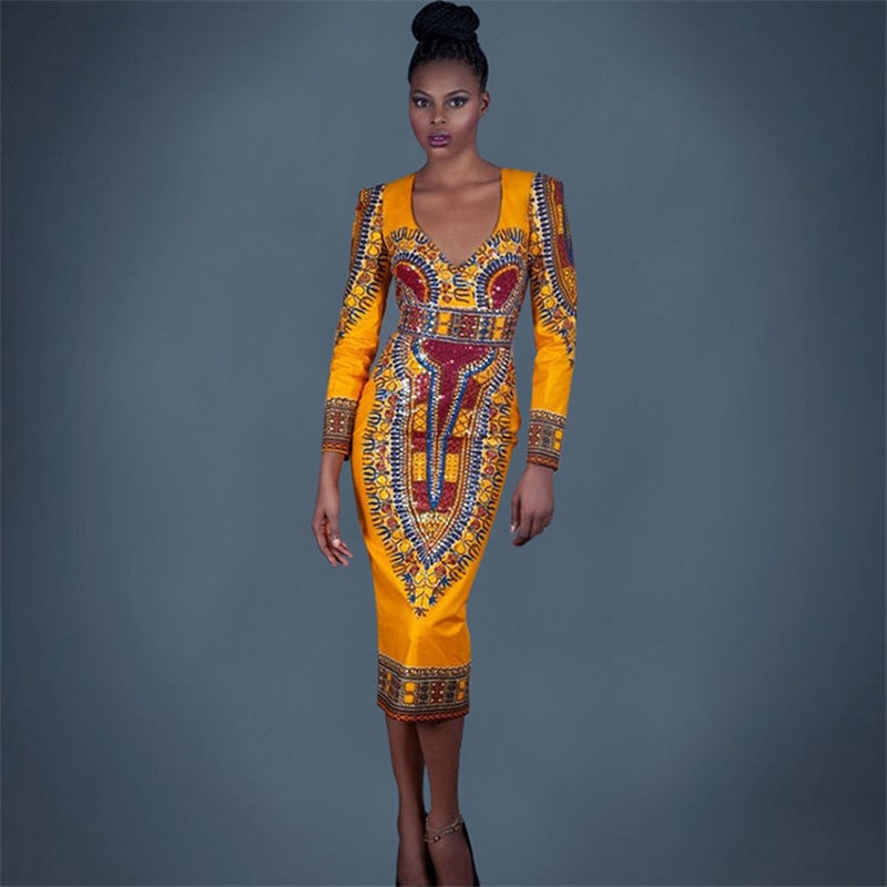 Classic Print African Women Dress Hollow Back Long Sleeves Dress