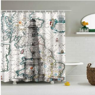 Bathroom Curtains Waterproof Polyester Fabric  Bathroom Shower Curtain