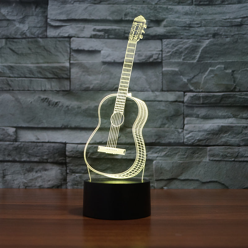 3D Optical Illusion LED guitar Night Light, 7 Color Changing Night Light, Room