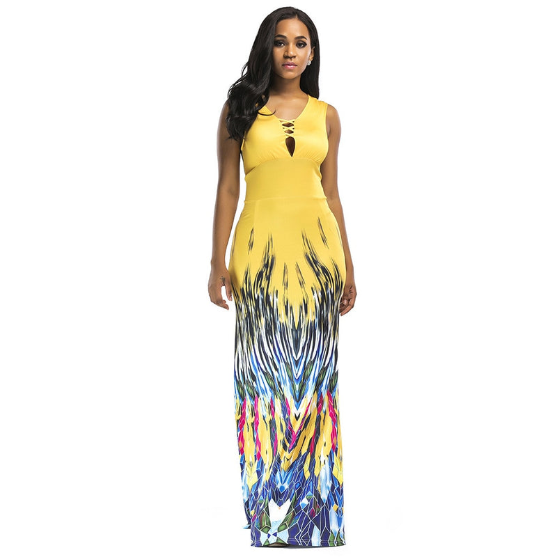 Elegant Long Red Print African Women Dress Sleeveless Dashiki Dress