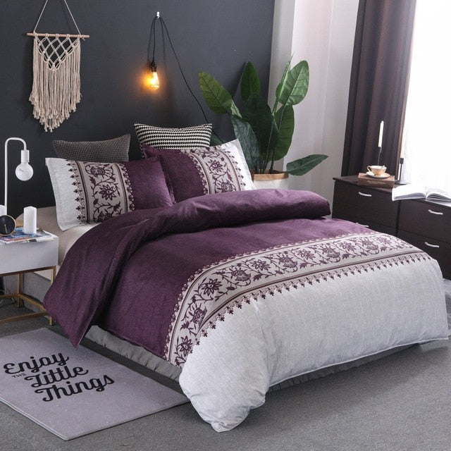 Bohemia style Duvet Cover plain color pattern retro style 2/3pcs Duvet Cover Sets