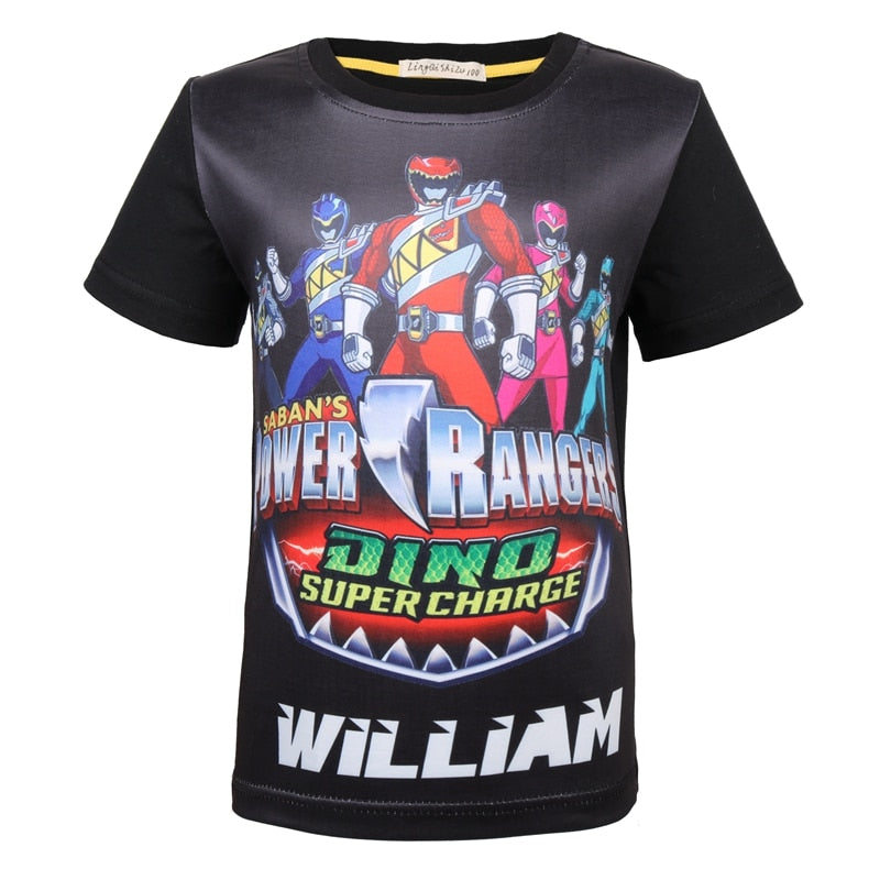Super Power Ranger Summer Short-sleeved T-shirt for Boys
