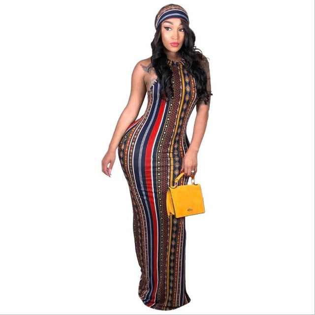 African stripes print dress (including headscarf)