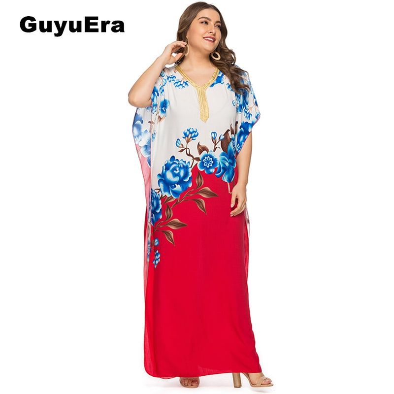 GuyuEra African Woman Dress Large Size V-neck