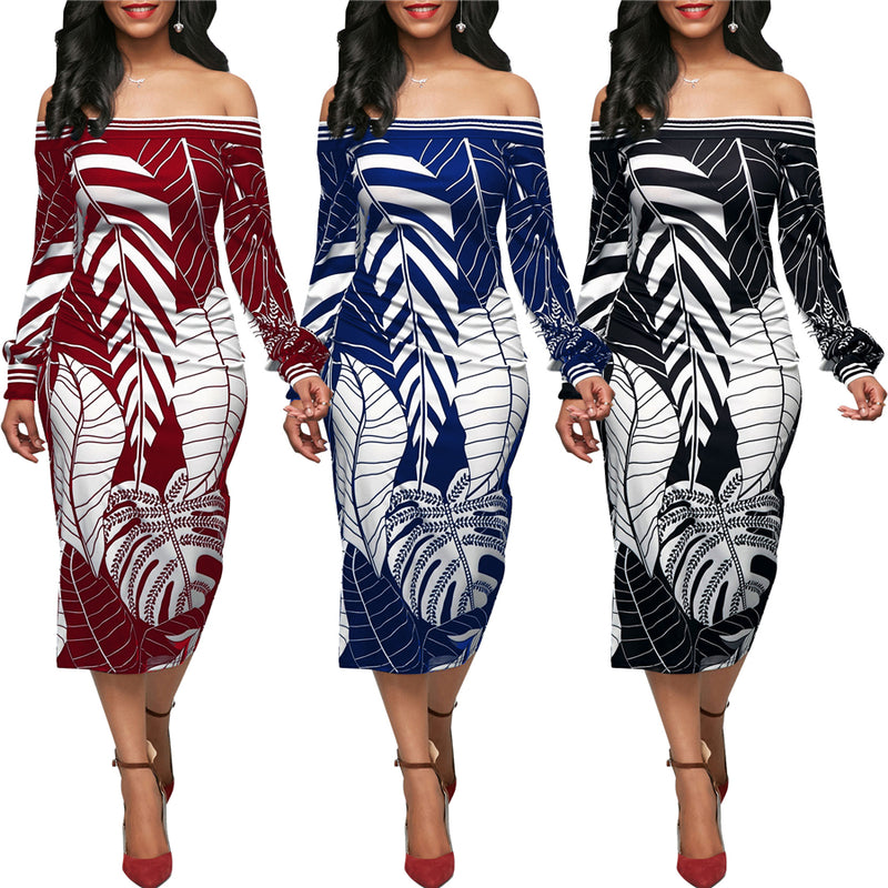 African dress for women Leaf pattern printed long sleeve one-shoulder dress